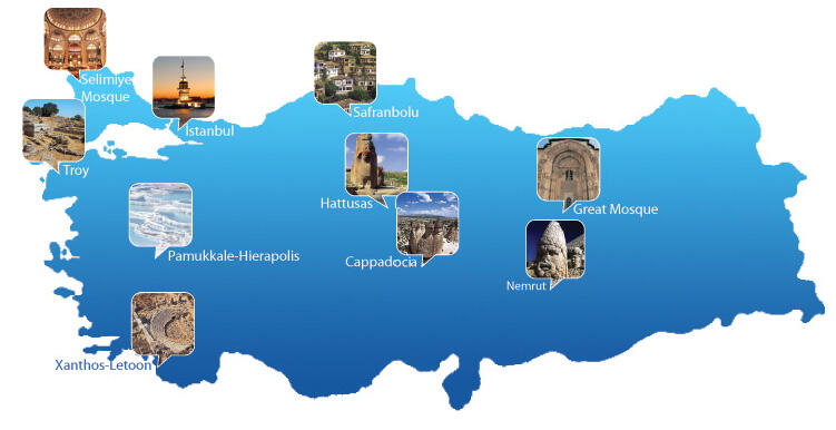 15 sites in Turkey on the UNESCO World Heritage List
